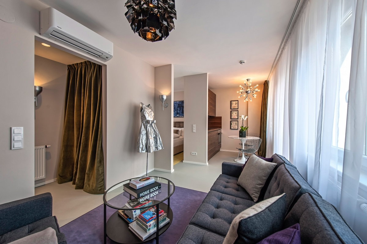 The Serviced Apartment Is Fully Furnished And Offers A Living Room With  Kitchen And Dining Area For Two Persons, One Bedroom, One Bathroom With  Flush ...