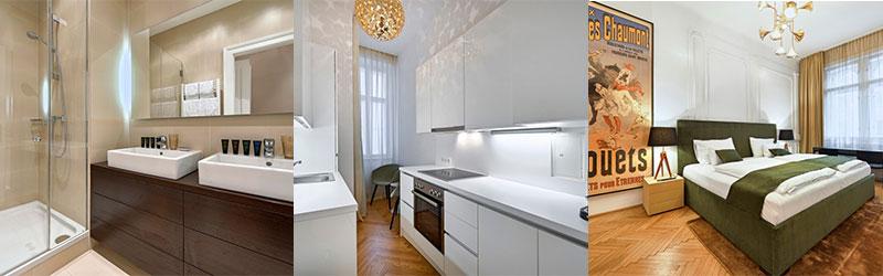 Schlafzimmer, Küche und Bad von Business Apartment
